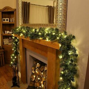 LED Pre-Lit Garland Fireplace Wreath, 30 Warm White Lights Timer Function 270 cm