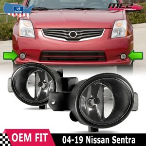 Fits 04-12 Nissan Sentra Factory Bumper Replacement Fit Fog Lights Clear Lens