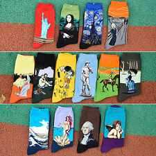 Men's Women's Christmas Art Patterned Casual Crew Funny Trouser Socks Collection