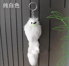 White Women Fake Fox Fur Little Fox Key Chain Cell Phone Charm Handbag Pendant