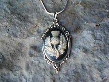 "SCOTTISH THISTLE CAMEO (HAND PAINTED) NECKLACE- SCOTLAND'S EMBLEM- 1 1/2"" LONG"