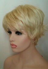 Short Cute Platinum Blonde Wig Wispy Layers & Bangs #613 Pale Blonde