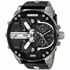 ✔️NEW Diesel DZ7313 Mr.Daddy 2.0 Black Leather Chronograph Steel Men's Watch✔️