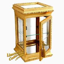 Italian Italy Gold Gilt Square Vitrine Display Curio Cabinet Glass Shelves