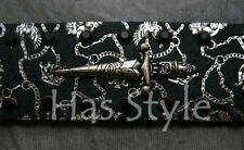 Christian Audigier Black DAGGERS Silver Chain Belt M
