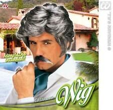 Mens Dark Grey Casanova Wig With Moustache 70'S 80'S Fancy Dress