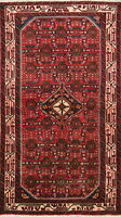 One-of-a-Kind Vintage Traditional Hamedan Persian Hand-Knotted 3x6 Red Wool Rug