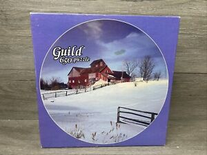 """Vintage Whitman Guild 650 Piece Jigsaw Puzzle Country Winter 23"""" Diameter"""