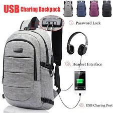 Anti Theft Mens Waterproof Backpack USB Charging Large Travel Laptop School Bag