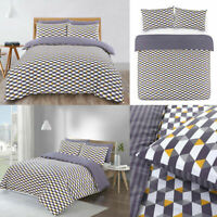 Grey & Mustard Geometric Duvet Quilt Cover Single/Double/King Size