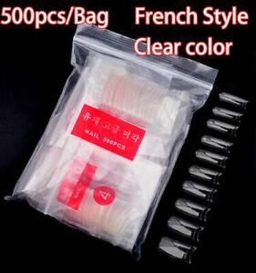 500 Pcs French Style False Fake UV Gel Acrylic Artificial Nail Art Tips Clear