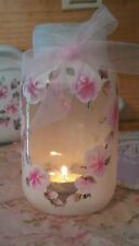 Beach house Gift Hand Painted pink Roses Romantic  Mason Jar shabby cottage chic