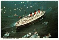 Cunard Line R M S Queen Mary Arrival to Long Beach Harbor CA Postcard 1967