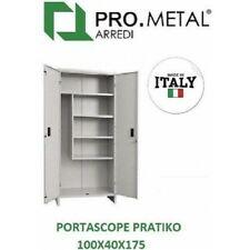 "ARMADIO ARMADIETTO PORTASCOPE IN METALLO cm.180x60x40 2 ANTE GRIGIO /""PRATIKO/"""