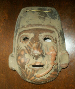 Vintage Aztec clay painted mask lizard gecko on face, rare wonderful!