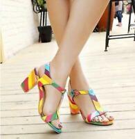 HOT Women Rainbow Open Toe T-Strap Multi-Color Block Mid-Heel  Sandal Big Sz xl