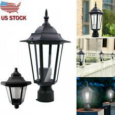 Post Pole Light Outdoor Garden Patio Driveway Solar Power Yard-Lantern-Lamp