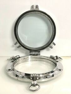 OLD VINTAGE NAUTICAL MARINE SHIP ALUMINIUM PORTHOLE/WINDOW THREE DOG 1 PIECES