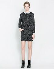 Zara Basic: Womens Black Polka Dot Dress With Peter Pan Collar, Size Extra Large