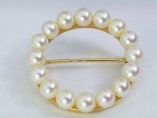 Pearl Round Brooch Pin Vintage 14K Solid Yellow Gold