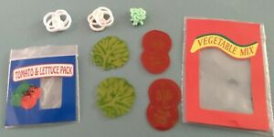 4, Barbie Fun Fixin' lot if vegetables, tomato slices, lettuce, onions, mint