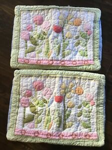 Pottery Barn Kids Spring Flowers 2 Quilted Pillow Shams Multi Appliqués Tulips