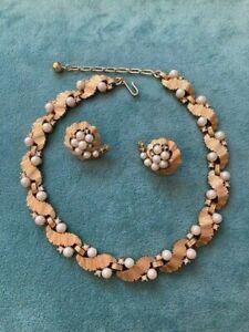 TRIFARI Vintage/Crown Faux Seed Pearl/Rhinestone Goldtone Necklace/Earrings SET