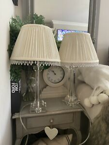John Lewis Crystal Glass PAIR Table Lamps White Beaded Shades