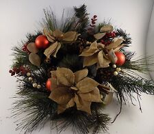 Burlap Poinsettias Pine Christmas Wreath with Ornaments Red Berries Decoration