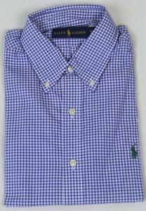 Ralph Lauren Blue Cream Checkered Classic Dress Shirt Green Pony NWT