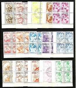 Vietnam Wildlife and flowers 1984, full set of 15 in Blocks of 4  franked Hanoi.