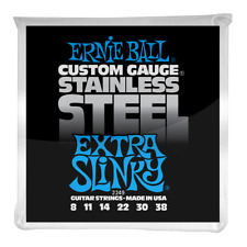 Ernie Ball Extra Slinky Stainless Steel Wound Electric Guitar Strings 8-38