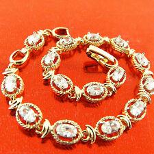 FSA366 GENUINE REAL 18K YELLOW GF GOLD DIAMOND SIMULATED ANTIQUE TENNIS BRACELET