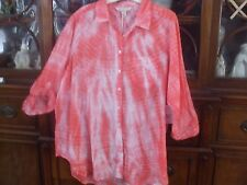 Khakis and Co. Women's Sz 1X- Tie Dyed Button down 3/4 Sleeved Shirt-NWT-L@@K