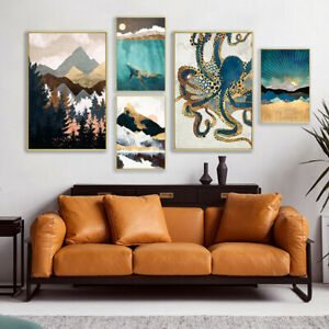 Abstract Canvas Painting Octopus Whale Mountain Vintage Poster Print Home Decor