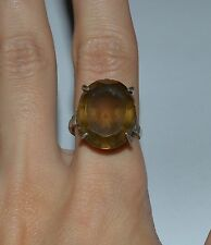 VINTAGE STERLING SILVER AND SMOKY QUARTZ COCKTAIL RING SIZE 6.5