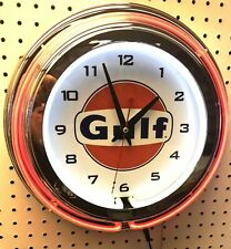 """15"""" GULF Gasoline Motor Oil Gas Station Sign Double Neon Clock"""