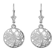 14k White Gold Textured Sand Dollar Sea Star Drop / Dangle Leverback Earrings