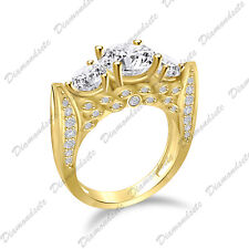Yellow Gold Over 925 Silver Promise Ring Past Present Future Three Stone Cz 14K