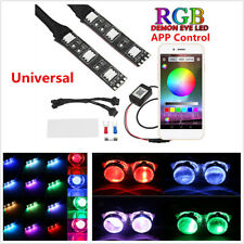 2x Universal RGB Demon Devil Eyes LED Wireless App Control For Car Headlight 12V