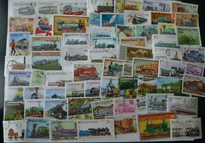 SMALL COLLECTION 68 DIFFERENT TRAIN STAMPS USED