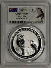 PCGS MS70 2017-P AUSTRALIA 1oz .999 SILVER KOOKABURRA  $1     ..       (CSS999)