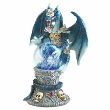 Blue Fantasy Color Change Dragon Armored Skulls Figurine Sculpture crystal ball