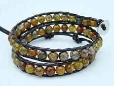 Unisex 2 Wrap Bracelet with 6mm DRAGON VEINS beads leather fashion bracelet