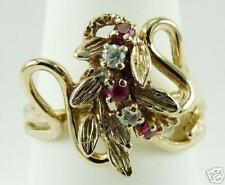 Ladies 14K Yellow Gold Ruby And Cubic Zirconia Fancy Designer Ring