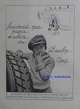 PUBLICITE PNEU DUNLOP CORD POUR POIDS LOURDS PETIT GARCON DE 1924 FRENCH AD RARE