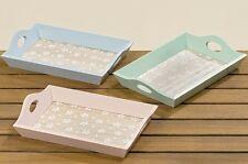3 piezas madera tabletts ROSA VERDE AZUL Bandeja velas flores Plato holztabletts
