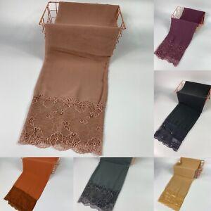 Lace Pearl Chiffon Sparkle Scarf Hijab Sarong Large Cotton Maxi Shawl Wrap Maxi