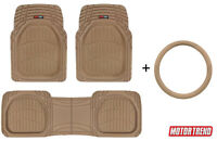 Motor Trend Deep Dish Floor Mats + Leather Steering Wheel Cover Set - Universal