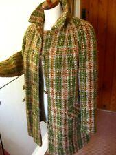 Ladies HARELLA Irish TWEED WOOL JACKET COAT UK 12 14 pure new wool green orange